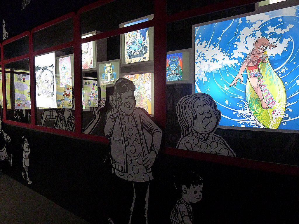 【展覽】老夫子50時空叮叮車~到台北松山文創園區搭乘叮叮車穿越時光隧道進入漫畫場景:75P1350700.jpg
