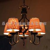 仿古美式鄉村鍛鐵各類燈飾:美式鄉村仿古鍛鐵公雞三頭蘇格蘭格子布藝燈罩吊燈